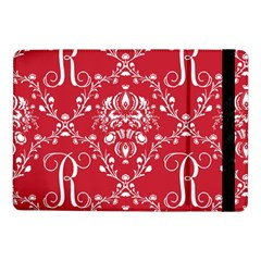 Initial Damask Red Paper Samsung Galaxy Tab Pro 10 1  Flip Case by AnjaniArt