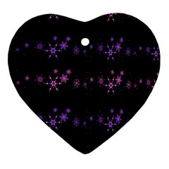 Purple Elegant Xmas Heart Ornament (2 Sides) by Valentinaart