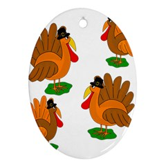 Thanksgiving Turkeys Oval Ornament (two Sides) by Valentinaart