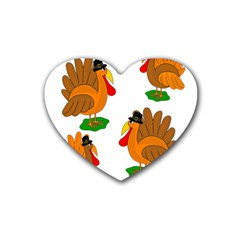 Thanksgiving Turkeys Rubber Coaster (heart)  by Valentinaart
