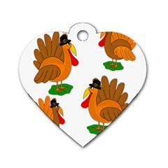 Thanksgiving Turkeys Dog Tag Heart (one Side) by Valentinaart