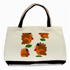 Thanksgiving Turkeys Basic Tote Bag (two Sides) by Valentinaart