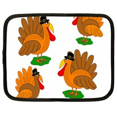 Thanksgiving Turkeys Netbook Case (large) by Valentinaart