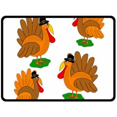 Thanksgiving Turkeys Fleece Blanket (large)  by Valentinaart