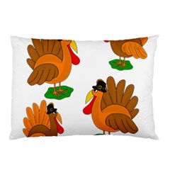 Thanksgiving Turkeys Pillow Case (two Sides) by Valentinaart