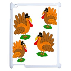 Thanksgiving Turkeys Apple Ipad 2 Case (white) by Valentinaart