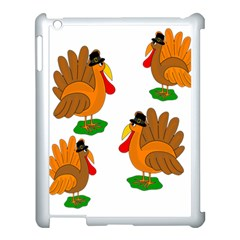 Thanksgiving Turkeys Apple Ipad 3/4 Case (white) by Valentinaart