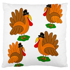 Thanksgiving Turkeys Standard Flano Cushion Case (two Sides) by Valentinaart