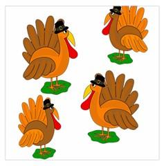 Thanksgiving Turkeys Large Satin Scarf (square) by Valentinaart
