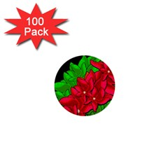 Xmas Red Flowers 1  Mini Buttons (100 Pack)  by Valentinaart