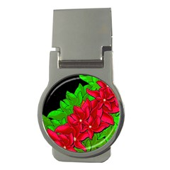 Xmas Red Flowers Money Clips (round)  by Valentinaart