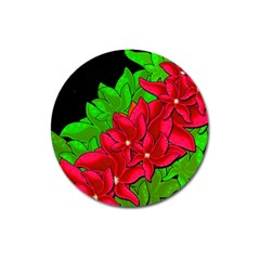 Xmas Red Flowers Magnet 3  (round) by Valentinaart