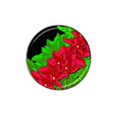 Xmas Red Flowers Hat Clip Ball Marker (10 Pack) by Valentinaart
