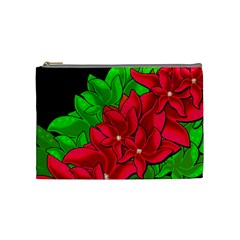 Xmas Red Flowers Cosmetic Bag (medium)  by Valentinaart