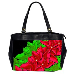 Xmas Red Flowers Office Handbags (2 Sides)  by Valentinaart