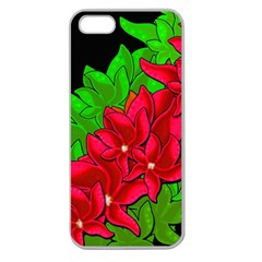 Xmas Red Flowers Apple Seamless Iphone 5 Case (clear) by Valentinaart