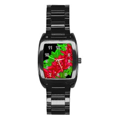 Xmas Red Flowers Stainless Steel Barrel Watch by Valentinaart