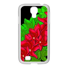 Xmas Red Flowers Samsung Galaxy S4 I9500/ I9505 Case (white) by Valentinaart