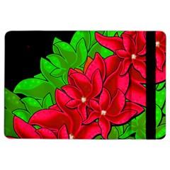 Xmas Red Flowers Ipad Air 2 Flip by Valentinaart