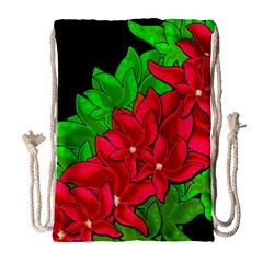 Xmas Red Flowers Drawstring Bag (large) by Valentinaart