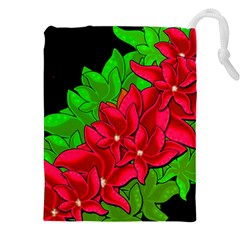 Xmas Red Flowers Drawstring Pouches (xxl) by Valentinaart