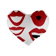 Lip Sexy Red Standard 16  Premium Flano Heart Shape Cushions by AnjaniArt