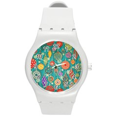Ornaments Homemade Christmas Ornament Crafts Round Plastic Sport Watch (m) by AnjaniArt