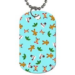 Pattern Merry Christmas Gingerbread Reindeer Man Snowman Holly Dog Tag (two Sides) by AnjaniArt