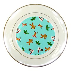 Pattern Merry Christmas Gingerbread Reindeer Man Snowman Holly Porcelain Plates by AnjaniArt