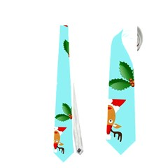 Pattern Merry Christmas Gingerbread Reindeer Man Snowman Holly Neckties (one Side)