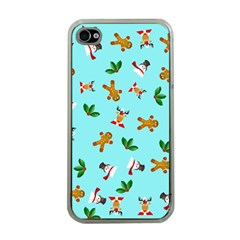 Pattern Merry Christmas Gingerbread Reindeer Man Snowman Holly Apple Iphone 4 Case (clear) by AnjaniArt