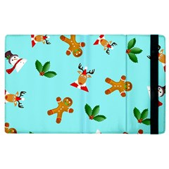 Pattern Merry Christmas Gingerbread Reindeer Man Snowman Holly Apple Ipad 2 Flip Case by AnjaniArt