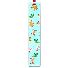 Pattern Merry Christmas Gingerbread Reindeer Man Snowman Holly Large Book Marks by AnjaniArt
