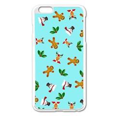 Pattern Merry Christmas Gingerbread Reindeer Man Snowman Holly Apple Iphone 6 Plus/6s Plus Enamel White Case by AnjaniArt