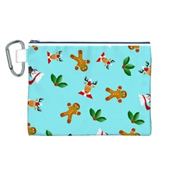 Pattern Merry Christmas Gingerbread Reindeer Man Snowman Holly Canvas Cosmetic Bag (l) by AnjaniArt