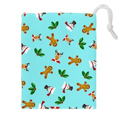 Pattern Merry Christmas Gingerbread Reindeer Man Snowman Holly Drawstring Pouches (xxl) by AnjaniArt