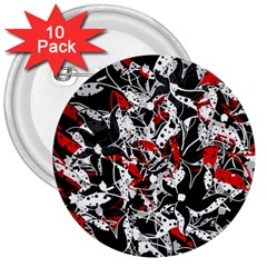 Red Abstract Flowers 3  Buttons (10 Pack)  by Valentinaart