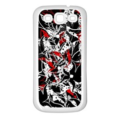 Red Abstract Flowers Samsung Galaxy S3 Back Case (white) by Valentinaart