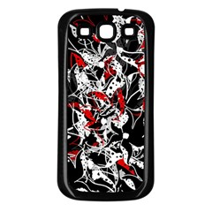 Red Abstract Flowers Samsung Galaxy S3 Back Case (black) by Valentinaart