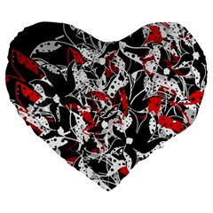 Red Abstract Flowers Large 19  Premium Flano Heart Shape Cushions by Valentinaart