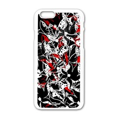 Red Abstract Flowers Apple Iphone 6/6s White Enamel Case by Valentinaart