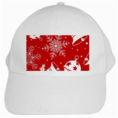Red Winter Holiday Pattern Red Christmas White Cap by AnjaniArt