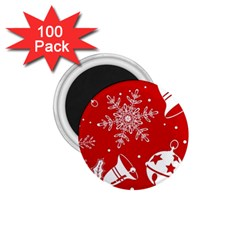 Red Winter Holiday Pattern Red Christmas 1 75  Magnets (100 Pack)  by AnjaniArt
