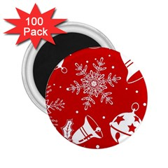 Red Winter Holiday Pattern Red Christmas 2 25  Magnets (100 Pack)  by AnjaniArt