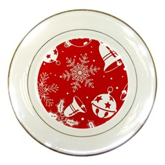 Red Winter Holiday Pattern Red Christmas Porcelain Plates by AnjaniArt