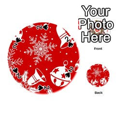 Red Winter Holiday Pattern Red Christmas Playing Cards 54 (round)