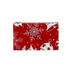 Red Winter Holiday Pattern Red Christmas Cosmetic Bag (small)  by AnjaniArt