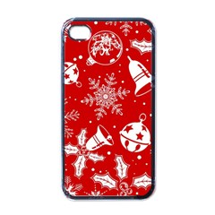 Red Winter Holiday Pattern Red Christmas Apple Iphone 4 Case (black) by AnjaniArt