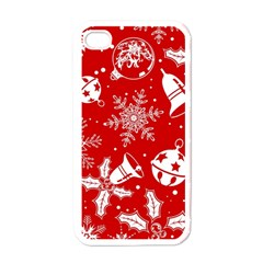 Red Winter Holiday Pattern Red Christmas Apple Iphone 4 Case (white)