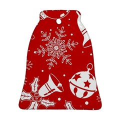 Red Winter Holiday Pattern Red Christmas Bell Ornament (2 Sides) by AnjaniArt